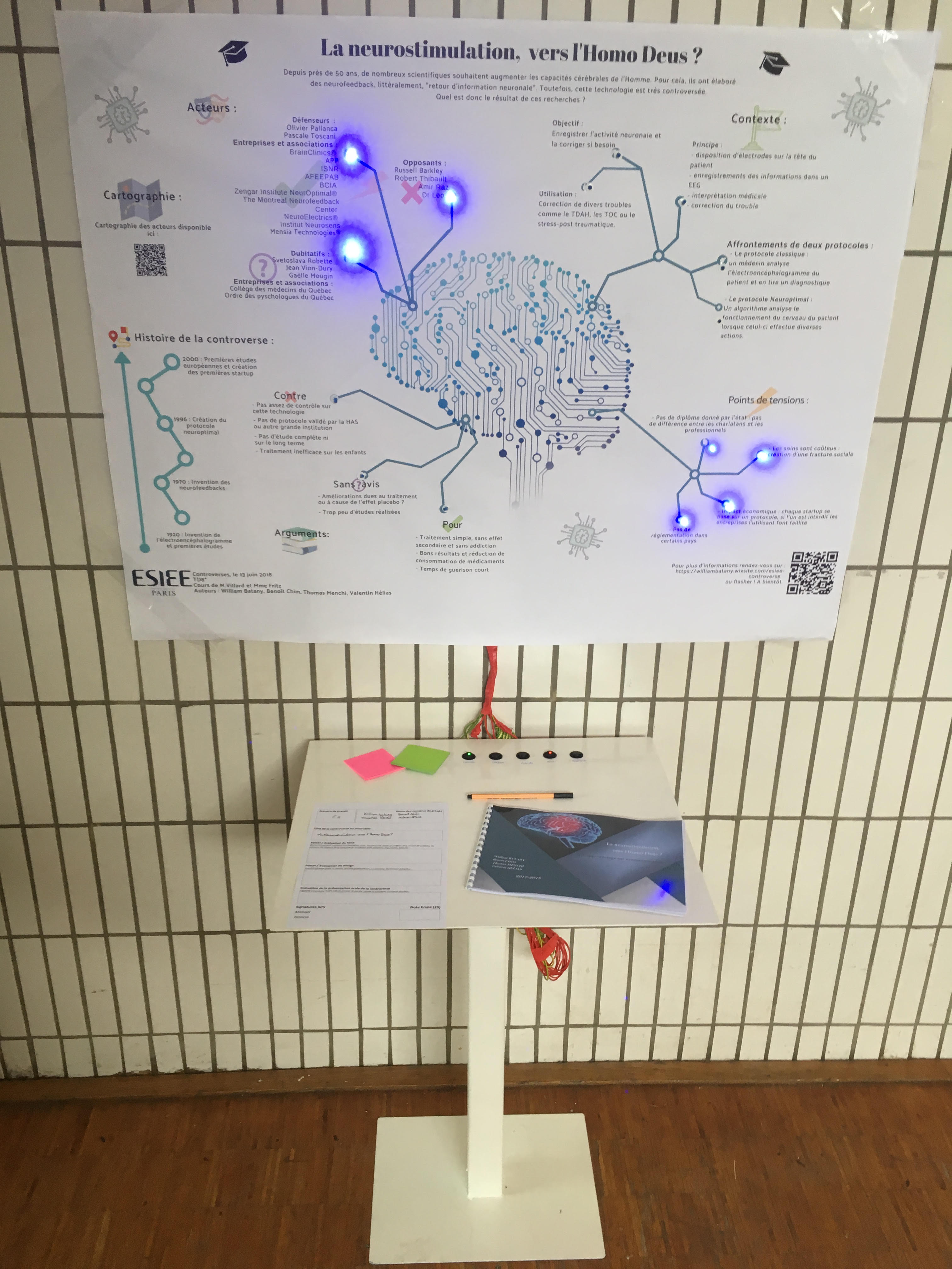 Installation avec diodes sur la neurostimulation (affiche 2018)